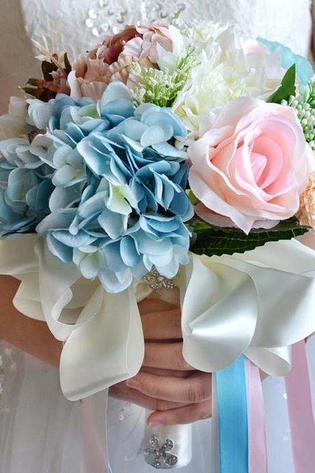 Bridal flowers bloom rich hydrangea holding flowers artificial flowers artificial flowers silk flowers roses decorative flowers