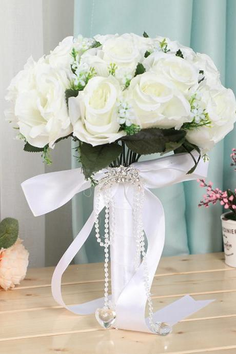 Bride holding flowers wedding wedding simulation flowers bridal bouquet bunch Korean holding flowers