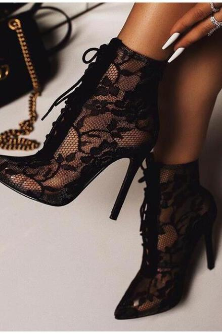 New women's shoes pointed toe stiletto heels European and American mesh short boots women's sandals