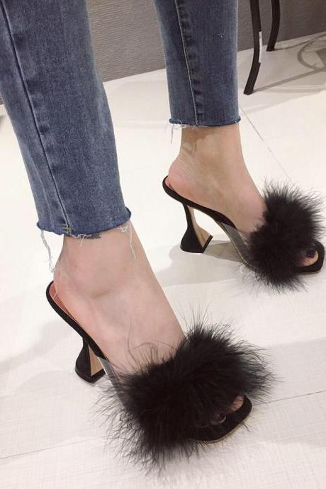New women's shoes sexy fur high-heeled sandals and slippers wine glasses with square head