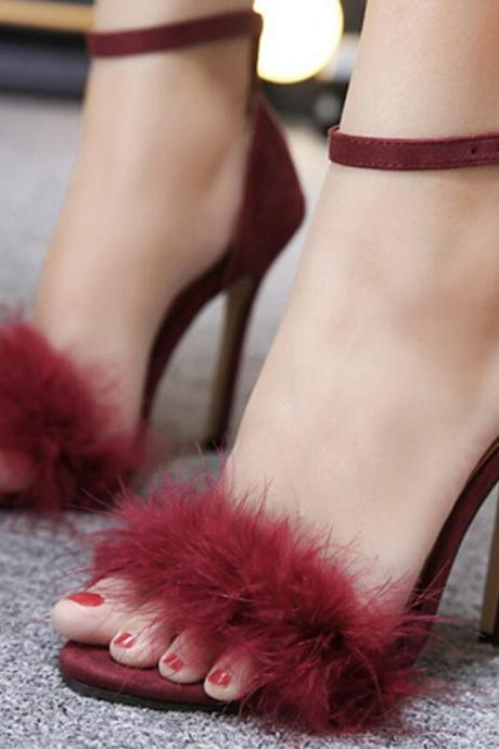 Women's feather high-heeled sandals furry cutout sexy women's shoes