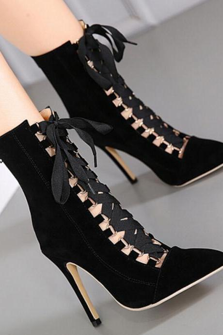 New large size high heel women's stiletto with pointed cross strappy nude boots