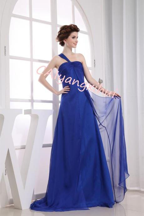 Women's One Shoulder Chiffon Prom Bridesmaid Dress Party Evening Dress