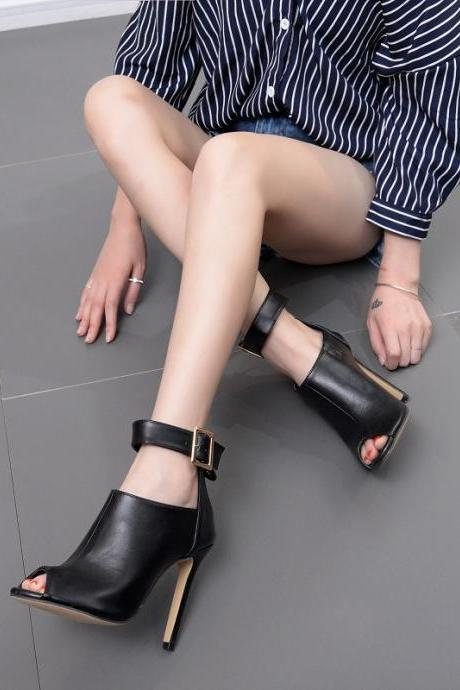 Women's catwalk show metal buckle high heel fish mouth sandals hollow women's shoes