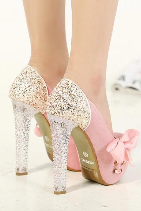 Thick Crystal Sequined Heels With Suede Bodice High Heels Shoes