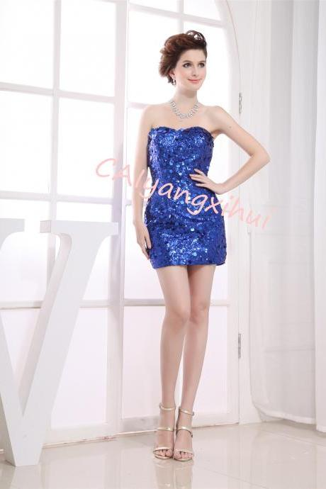 Women's Lace Sequin Prom Short Dress Party Dress