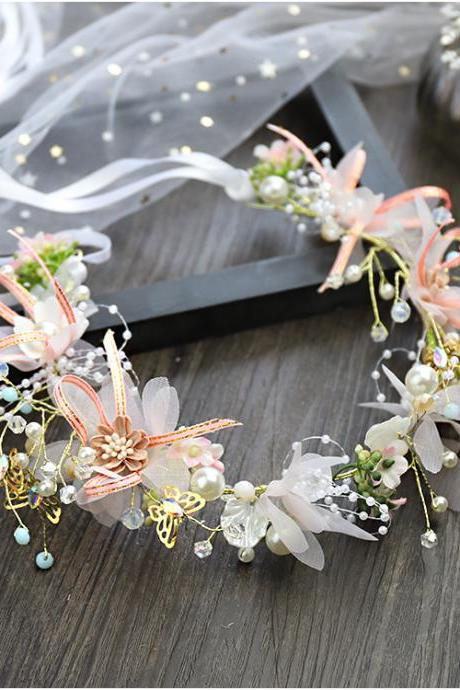 Butterfly Juansha Bridal Headdress Wreath Headband Modeling Wrist Flower Handmade Lace Knot Wedding Accessories