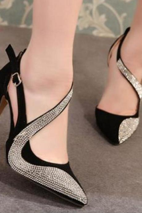 Women's super high heel catwalk fashion rhinestone high heels single shoes