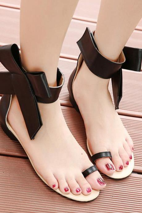 Huge Bow Almost Bare Flat Sandals Slippers