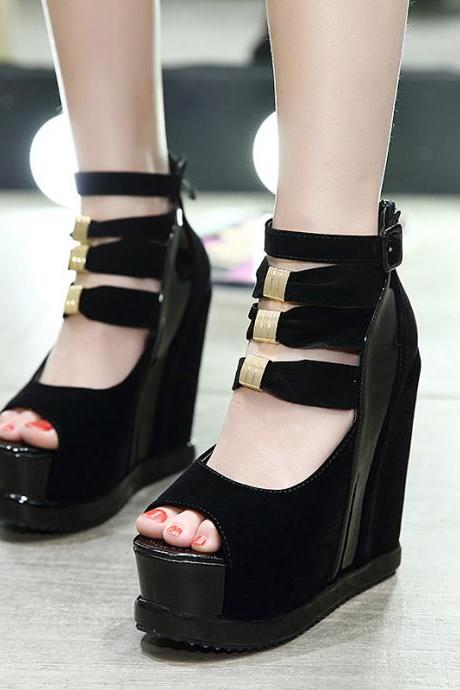 Women's high-heeled shoes waterproof platform sandals matching color hollowed-out wedge heel shoes