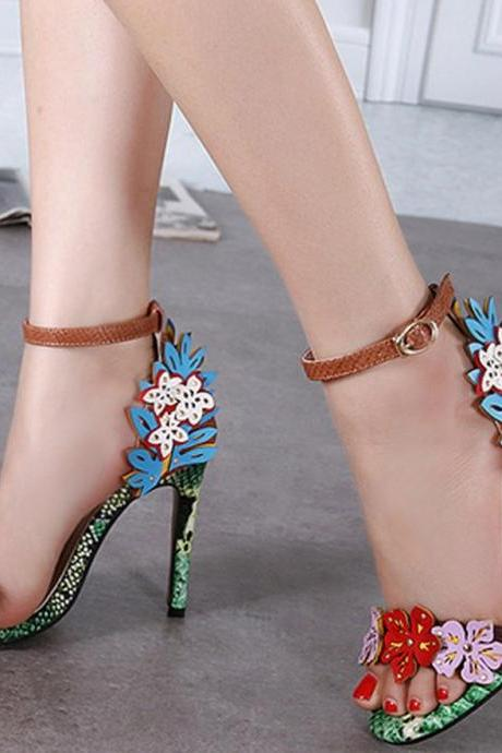 Spring Flowers Embellished Open Toe Ankle Strap High Heel Sandals