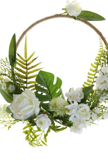 New round hand wreath flower basket white fresh home decoration holding flowers bride holding flowers