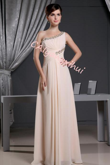 Women's One Shoulder Long Evening Dress Chiffon Bridesmaid Dress Prom Dress