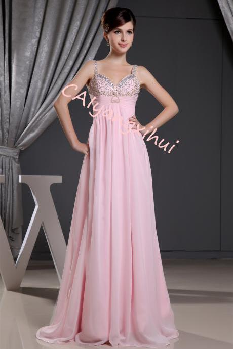 Women's Hand-Beaded Sweetheart Chiffon Party Evening Dresses Bridesmaid Dresses