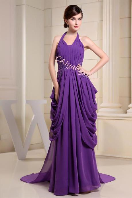Chiffon bridesmaid dress long dress evening dress formal sleeveless