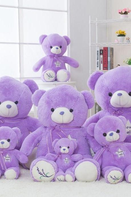 Purple lavender bear plush toy hug bear teddy bear rag doll Christmas gift