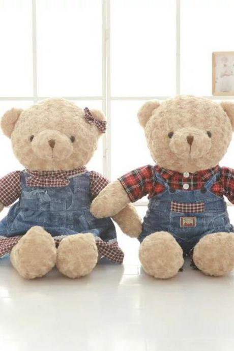 Jeans couple teddy bear plush toy doll suspender skirt big bear doll doll birthday gift