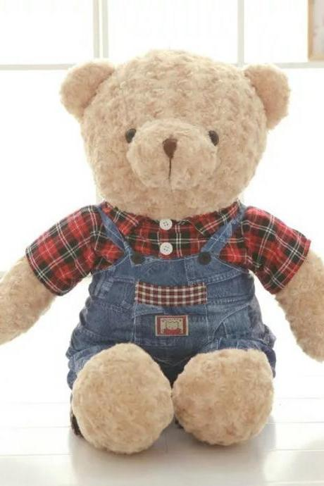 Jeans couple teddy bear plush toy doll suspender skirt big bear doll doll doll birthday gift