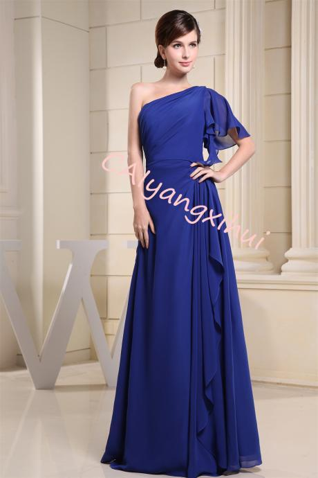 Chiffon One Shoulder Prom Dress Party Long Dress