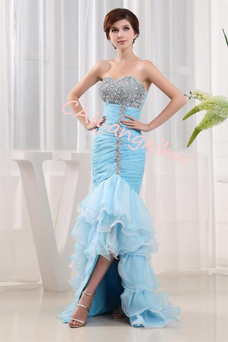 Women's Organza Ruffles Quinceanera Beaded Sweetheart Prom Ball Gown