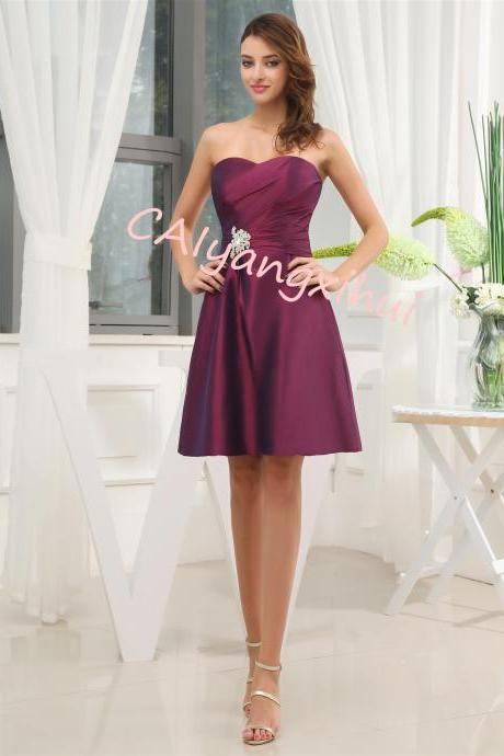 Short Taffeta Strapless Dress