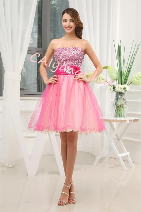 Women's Short Beading Dress A Line Prom Ball Gown