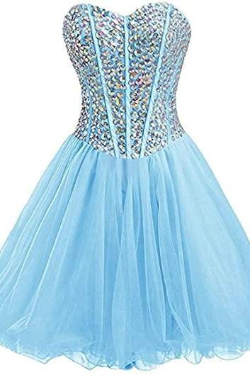 Women's Strapless Short Beaded Sweetheart Tulle A-line Homecoming Dresses for Juniors 2022