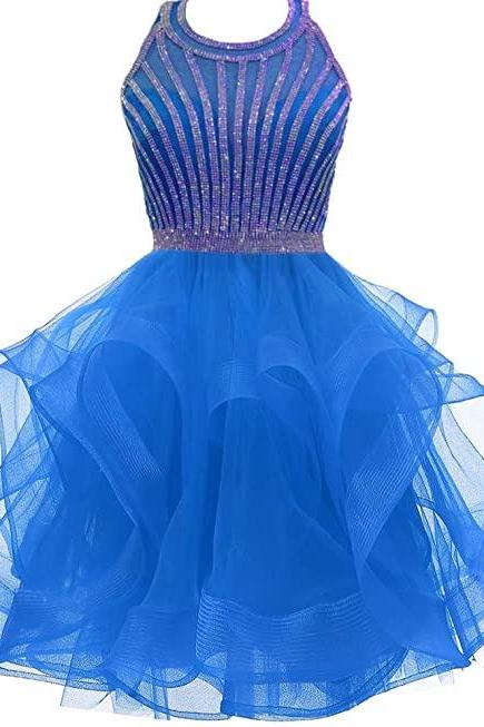 Women's Strap Organza Dress For Junior Short Tiered Prom Cocktail Gowns