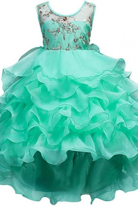 Vintage Ruffle Lace Tulle Flower Girl Dresses Junior Bridesmaid Bow Princess Gown Party Wedding Trailing Dress