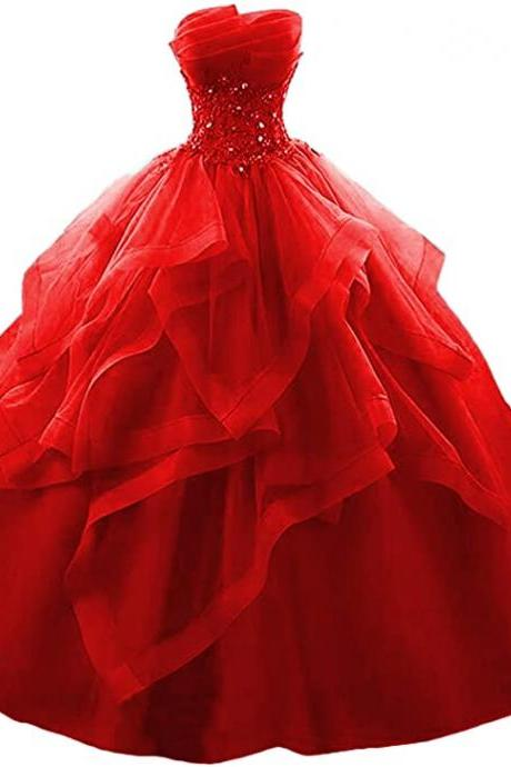 Prom Dress Long Ruffles Ball Gown Long Quinceanera Dresses Strapless Lace Beaded Prom Dress Princess Gowns