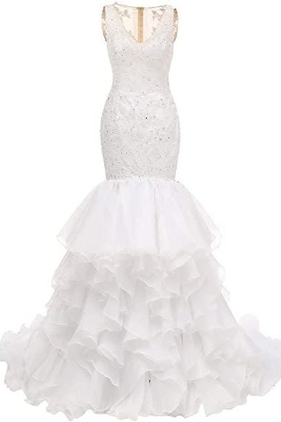 Organza Wedding Dress for Bride Lace Applique V-Neck Ruffles Bridal Gown