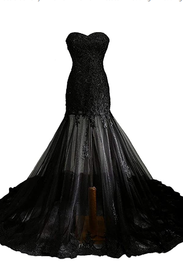 Vintage Mermaid Prom Dress Long Beaded Lace Black Wedding Dress Party Gown