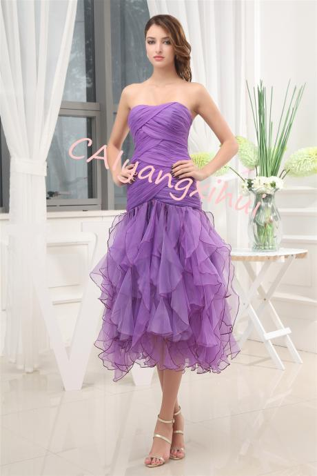 Women's Off Shoulder Organza Prom Dresses