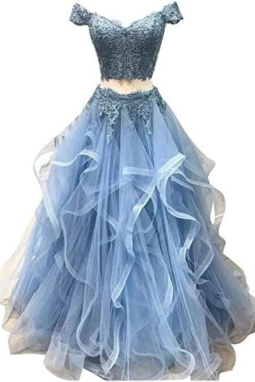 Women Of The Shoulder Sweetheart Two Piece Organza Lace Prom Dress Quinceanera Dress