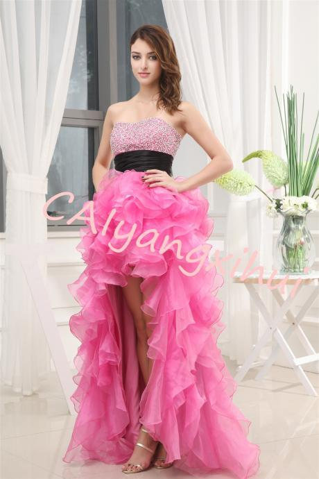 Women's High Low Beading Organza Prom Dresses Sequined Halter Evening Ball Gown