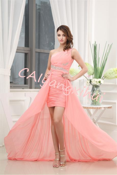 Women's One Shoulder Chiffon Bridesmaid Dresses A Line Prom Gown