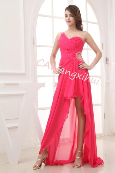 Bridesmaid Dresses Prom Dress Long Chiffon One Shoulder Evening Gown Party Dress