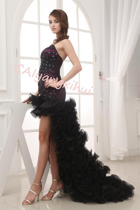Women's High Low Beading Organza Prom Dresses Evening Ball Gown