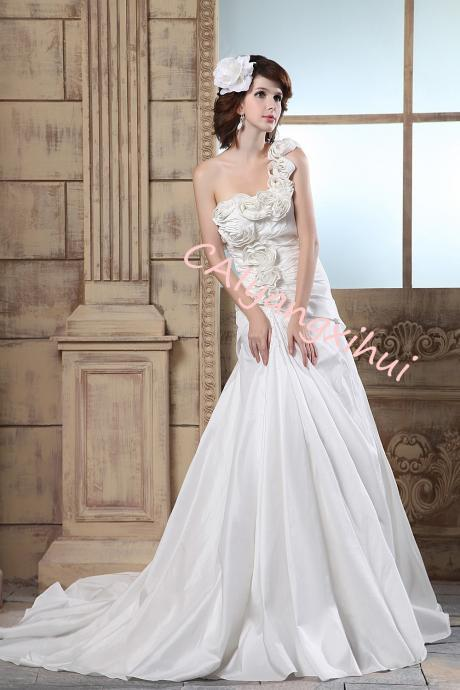 Women's One Shoulder Taffeta Wedding Dress Prom Dress