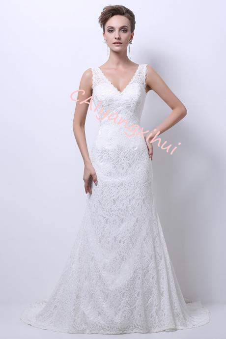 Women's 2020 Lace Long Vintage Country Style Bridal Wedding Dress