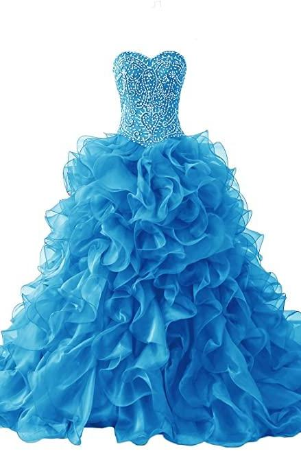 Gorgeous Heavy Beaded Organza Quinceanera Dresses for Sweet Ball Gowns