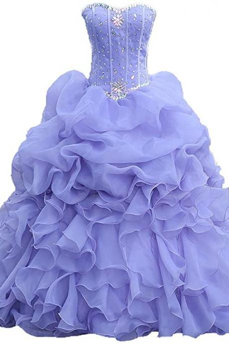 Beaded Quinceanera Dress 2019 Ruffles Ball Gown Prom Dress Plus Size