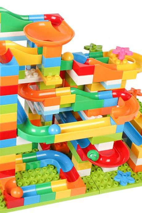 Best Choice Products Kids 256-Piece Building Blocks Toy Puzzle Race Track Set w/Ramps, Slides, Funnels