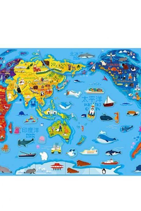 Children's Big Magnetic World map Puzzle 3-8 Years Old 4 Boys Intelligence Toys Early Childhood Education-World map Magnetic Puzzle Marvel Puzzle