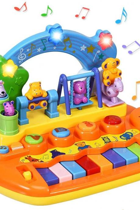 8 Keys Kids Educational Piano Keyboard Toy, Animal Family Musical Instrument Toys with LED Light, Music Modes, Best Early Education Christmas Birthday Gifts for Babies Toddlers Preschoolers