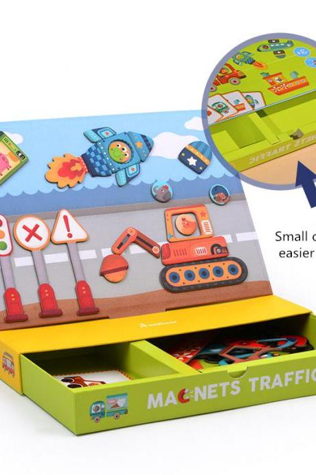 Children's transportation educational toys creative magnetic cartoon paper jigsaw puzzle early childhood education toys