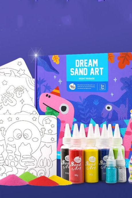 Children's Art Sand Painting Set Handmade DIY Making Educational Toy Non-Toxic Safe Graffiti Gift Box 3-6 Years Old