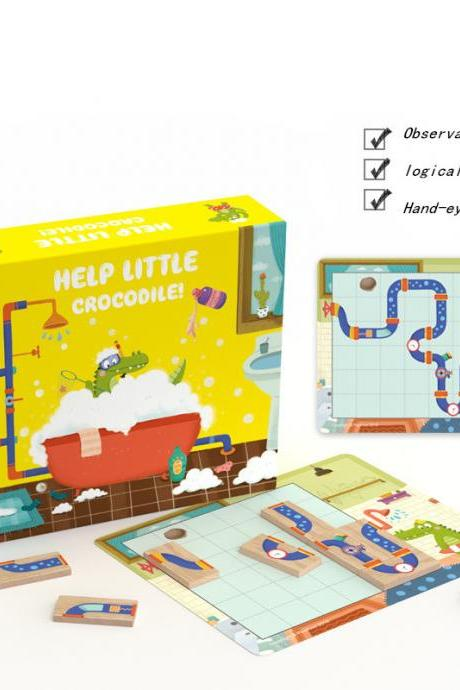 Children's Logical Thinking Training Early Education Puzzle Little Crocodile Love Bathing Maze Puzzle Toy