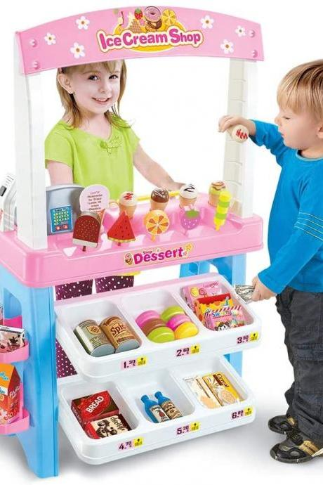 Grocery Store Play Set Supermarket Pretend Play Set Ice Cream and Cake with Scanner for Kids Toddlers Adults Birthday Festival Gift 47 Piece (Batteries Not Included)