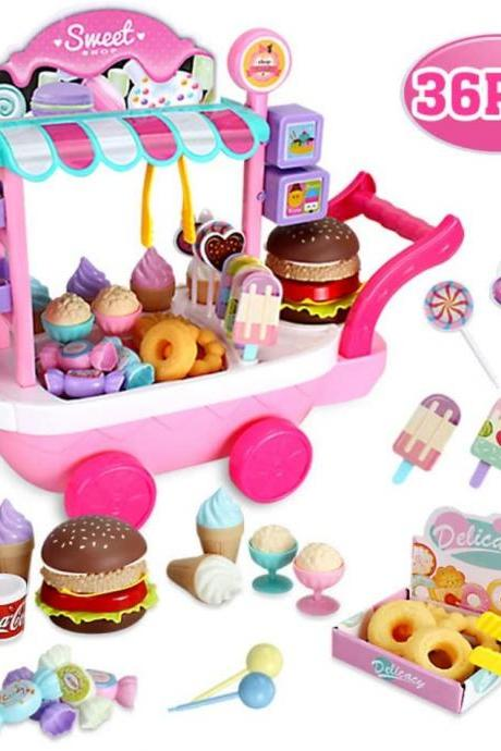 Children Ice-Cream Stroller Mini Kitchen Set Baby Early Educational Kitchen Toys Supermarket Trolley Pretend Food Playset